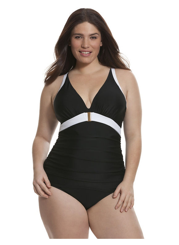 Lane Bryant Plus Size Colorblock one-piece with built-in plunge bra Size 26,28, black