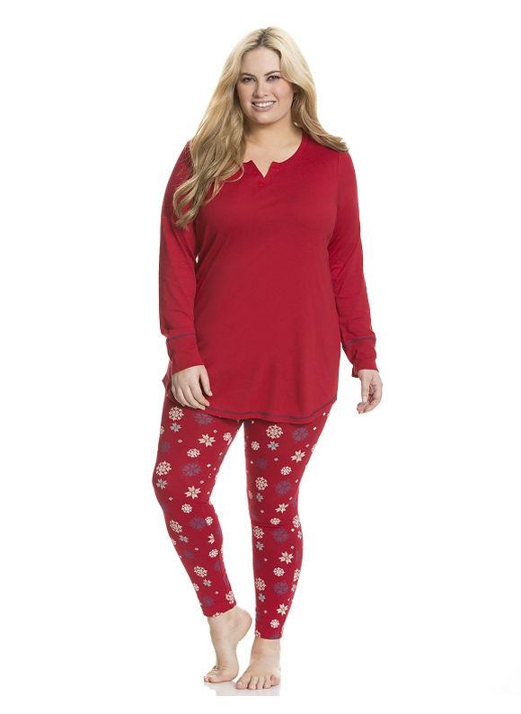 Lane Bryant Plus Size Snowflake legging PJ set, red