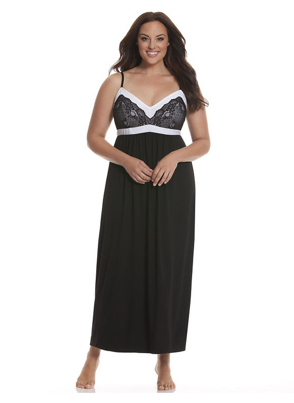 Lane Bryant Plus Size Tru to You colorblock sleep maxi Size 14/16,18/20,22/24,26/28, black