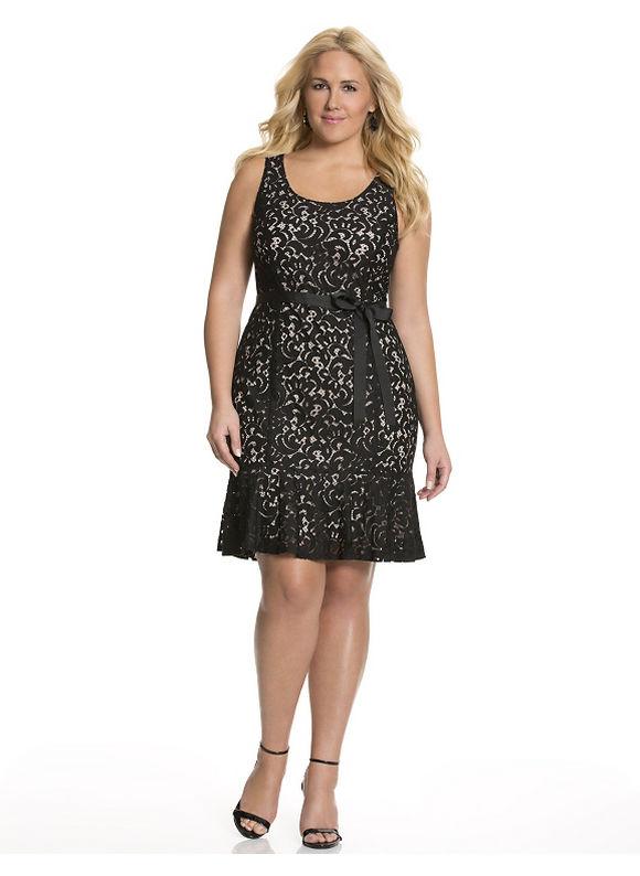Lane Bryant - Plus Size Fluted lace sheath dress - Size 24, Black dresses