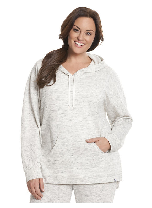 Plus Size Kangaroo pocket hoodie -  Bianca White Livi Active by Lane Bryant