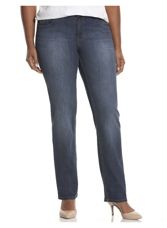 Lane Bryant Plus Size Genius Fit™ straight leg jean, Women's, Size: 18, Denim Blue