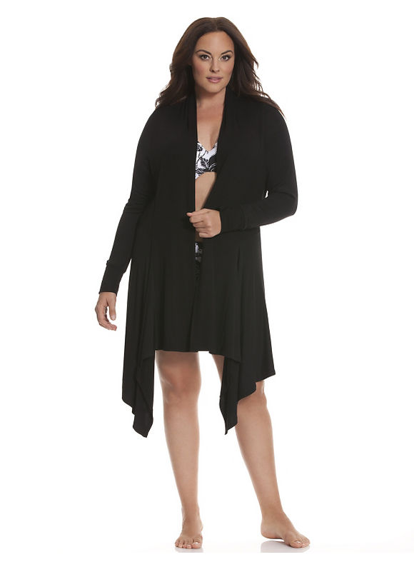 Plus Size Tru to You ribbed wrap robe - Black by Lane Bryant