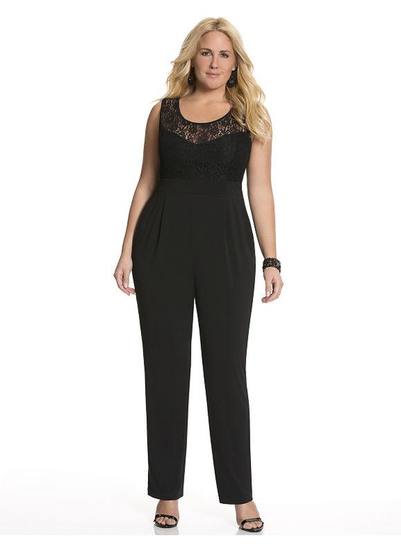 Lace top jumpsuit Plus Size/Black by Lane Bryant