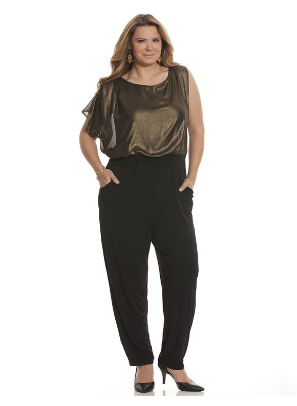 Plus Size Gold top jumpsuit - Size 14/16, Black & gold by Lane Bryant