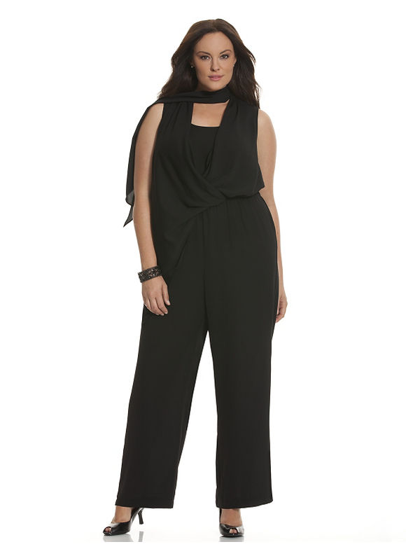 Lane Bryant Plus Size 6th & Lane scarf-tie jumpsuit Size 16, black