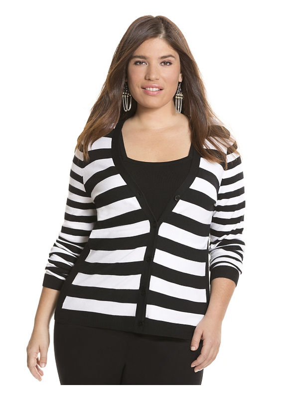 Striped cardigan Plus Size/Black tops by Lane Bryant