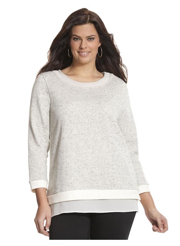 Lane Bryant Plus Size Illusion trim sweatshirt Size 22/24, gray/white