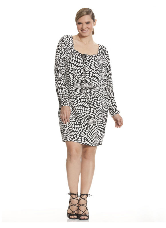 Plus Size Op Art wedge dress by Isabel Toledo Lane Bryant Women's Size 12, black