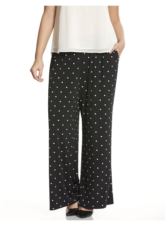Lane Bryant Plus Size Simply Chic polka dot matte Jersey pant Size 14/16,18/20, black