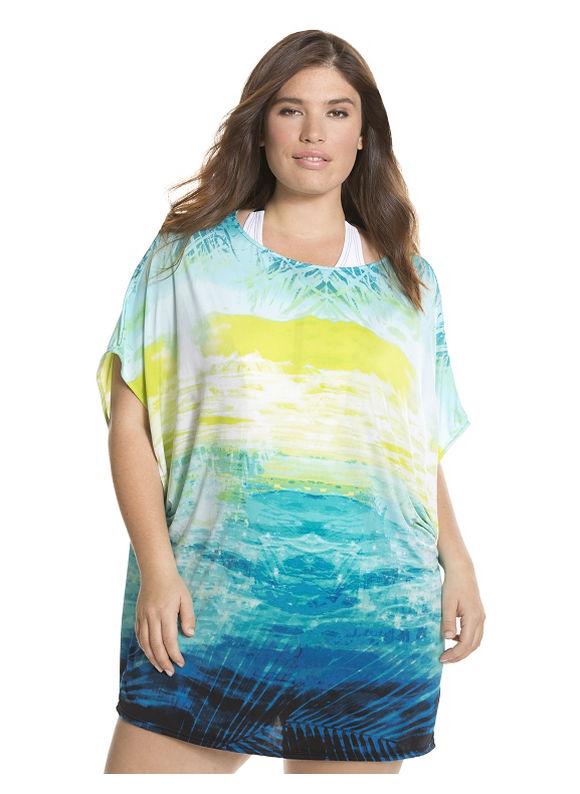 Lane Bryant Plus Size Tropical sunset (Multicolor) swim cover up