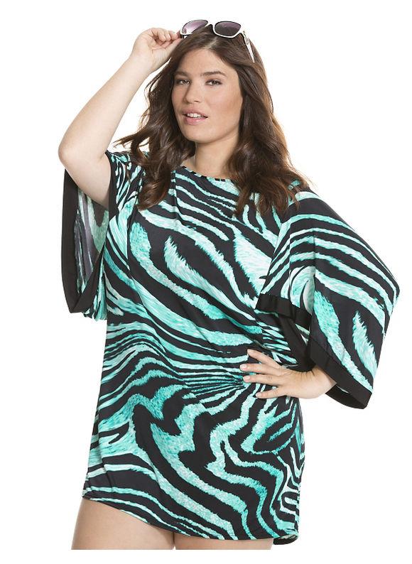 Lane Bryant Plus Size kimono swim cover up zebra print