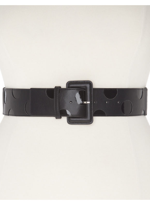Lane Bryant Plus Size Patent polka dot stretch belt black