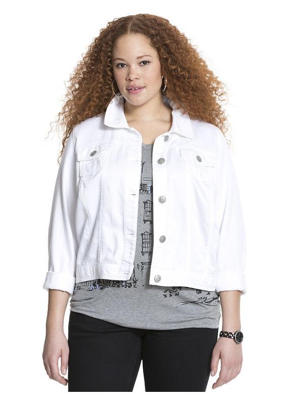 Lane Bryant Plus Size Tencel denim jacket Size 16, white