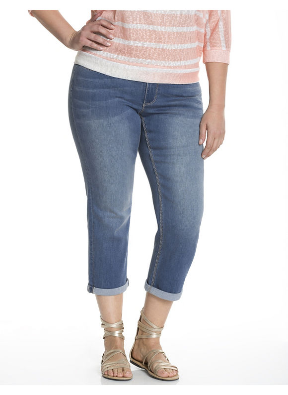 Lane Bryant Plus Size Light wash double double capri by Seven7, blue