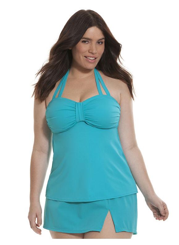 Lane Bryant Plus Size Bandeau no-wire swim tank Size 28, Bluebird - Lane Bryant ~ Trendy Plus Size Clothes