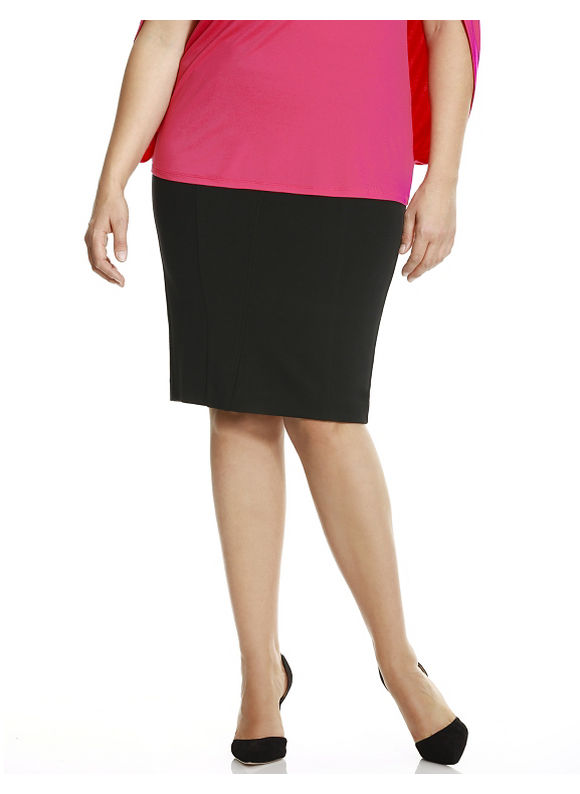 Lane Bryant Plus Size 6th & Lane fold-over pencil skirt Size 12, black