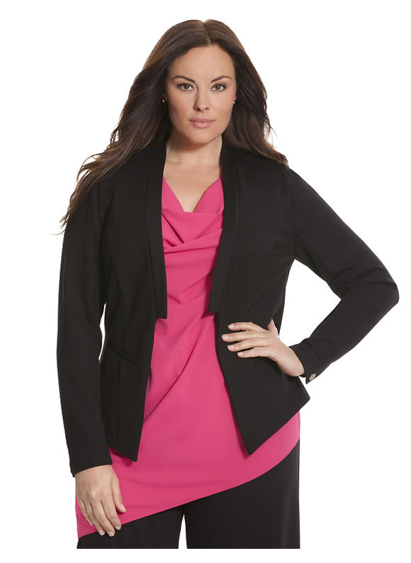 Lane Bryant Plus Size 6th & Lane collarless blazer, black