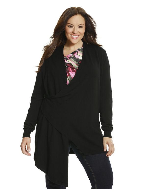 Lane Bryant Plus Size 6th & Lane asymmetric zip cardigan Size 12, black