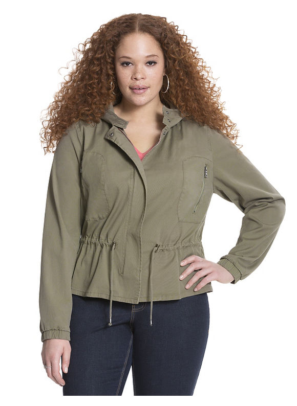 Lane Bryant Plus Size Anorak jacket Size 14, Palmer Green