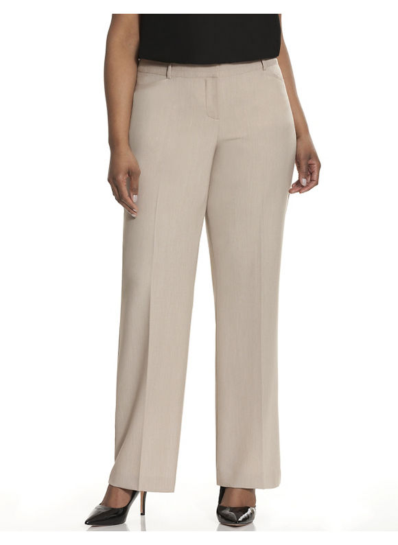 Lane Bryant Plus Size Lena Tailored Stretch trouser with Tighter Tummy Technology, Women's, Size: 14,16,18,20,22, Off White