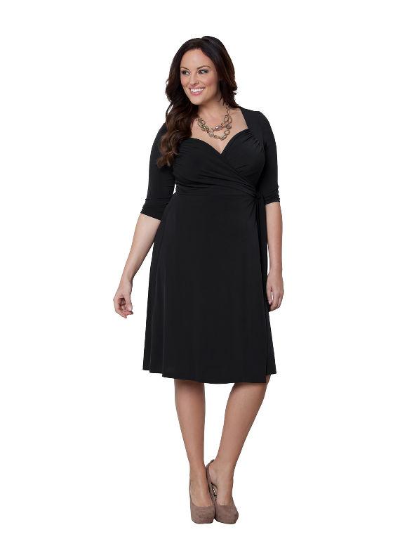 Plus Size Sweetheart wrap dress by Kiyonna Lane Bryant Women's Size 0X, black - Lane Bryant ~ Trendy Plus Size Clothes