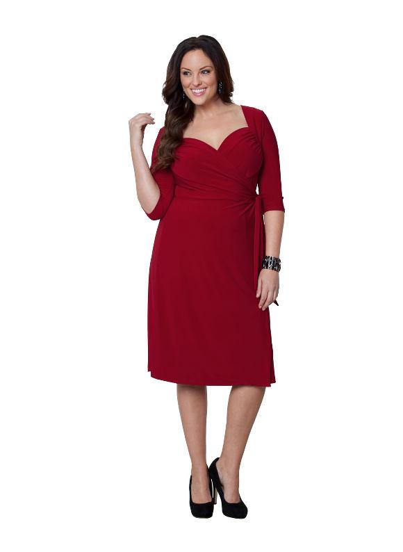 Plus Size Sweetheart wrap dress by Kiyonna Lane Bryant Women's Size 1X,2X,3X,0X, Black, Venetian red, Dark water - Lane Bryant ~ Trendy Plus Size Clothes