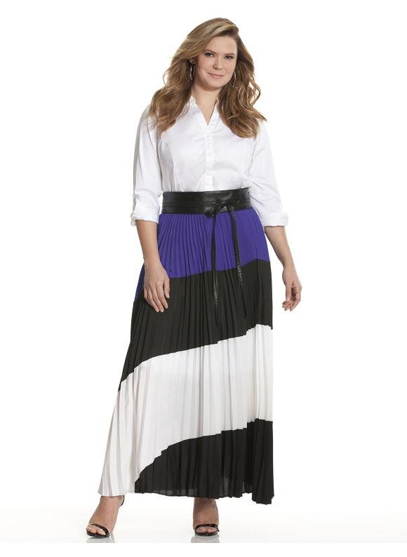 Lane Bryant Plus Size Colorblock maxi skirt Size 18/20,22/24,26/28, black - Lane Bryant ~ Trendy Plus Size Clothes