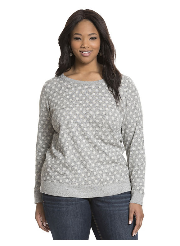 Lane Bryant Plus Size Polka dot jacquard sweatshirt Size 14/16, gray