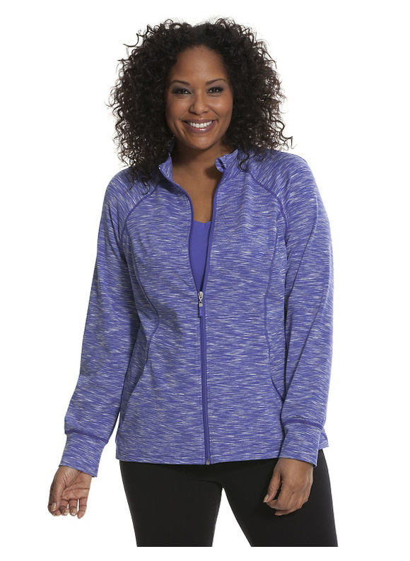 Lane Bryant Plus Size Space dye wicking active jacket, Calypso Blue