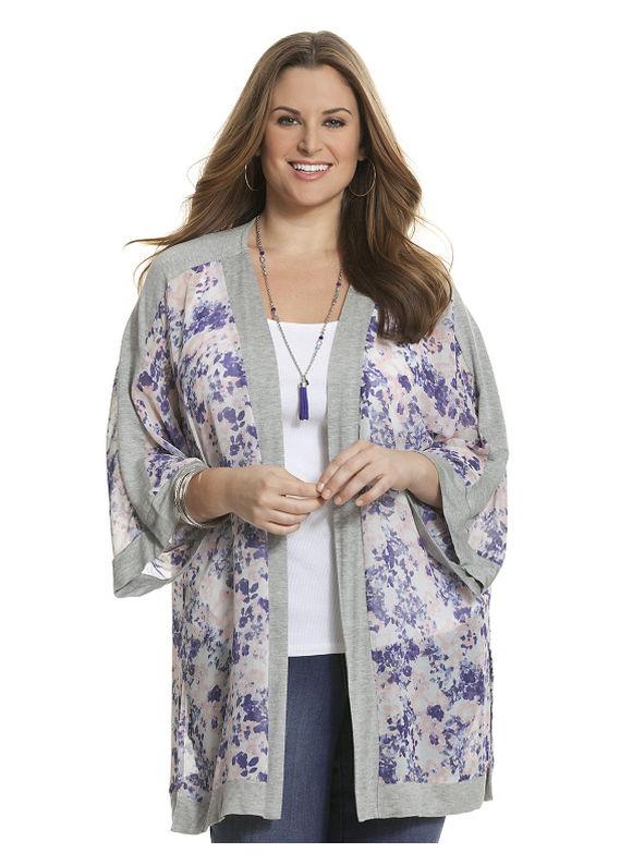 Lane Bryant Plus Size Knit trim kimono Size 18/20, floral print - Lane Bryant ~ Trendy Plus Size Clothes