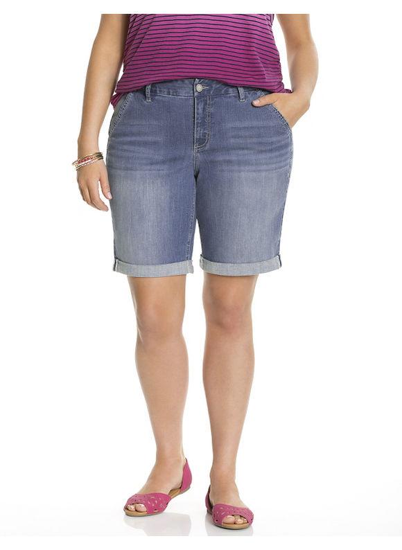 Lane Bryant Plus Size Genius Fit™ Bermuda short, Blue