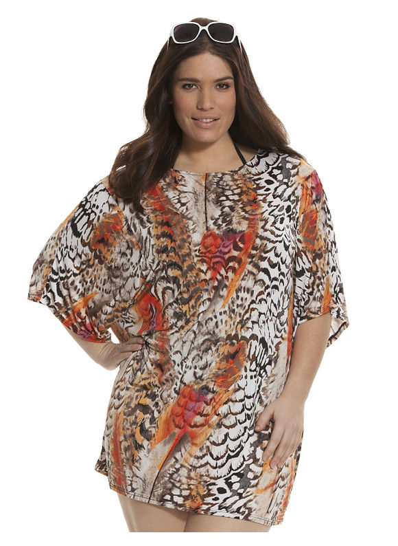Lane Bryant Plus Size Printed cocoon swim cover-up, Botticelli Waves