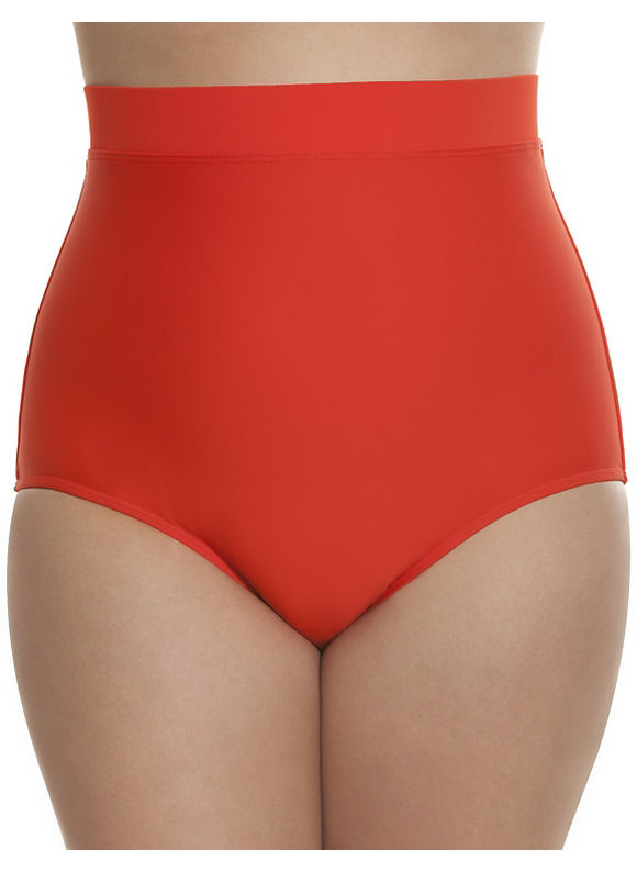 Lane Bryant Plus Size High waist swim brief Size 18, Lava Red