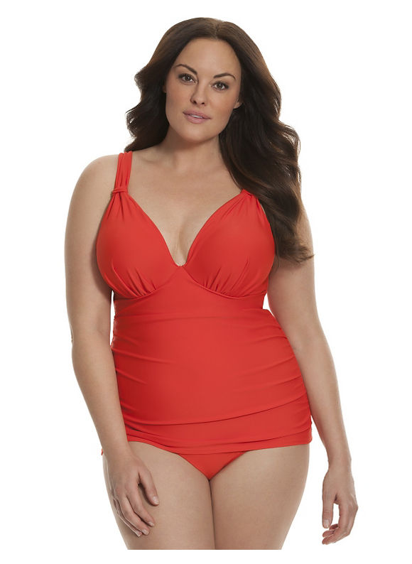 Lane Bryant Plus Size Triangle swim tank with built-in plunge bra Size 38C, Lava Red