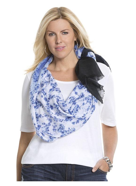 Lane Bryant Plus Size Floral ombre scarf Size One Size, blue - Lane Bryant ~ Trendy Plus Size Clothes