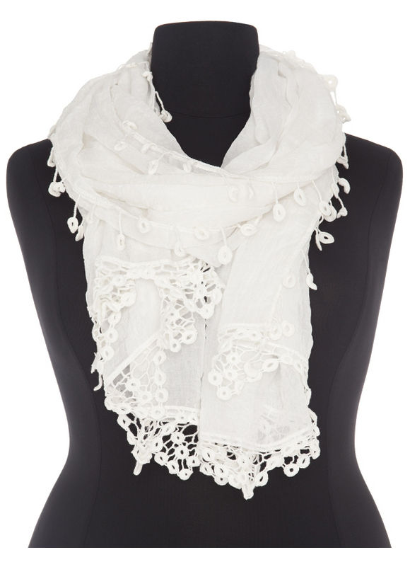 Lane Bryant Plus Size Crocheted trim scarf Size One Size, white - Lane Bryant ~ Trendy Plus Size Clothes
