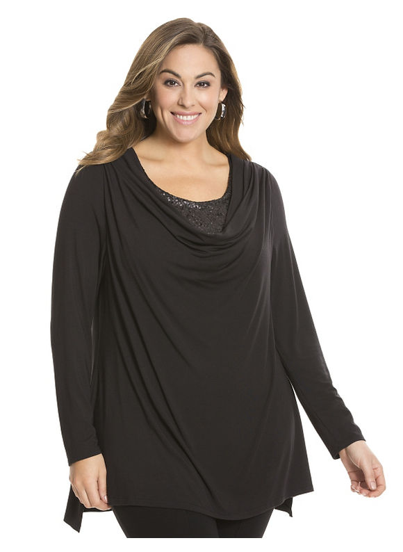 Lane Bryant Plus Size Sequin cowl top by Lysse Size 1X, black - Lane Bryant ~ Trendy Plus Size Clothes
