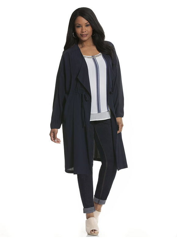 Lane Bryant Plus Size Woven cinched waist duster Size 14/16,18/20,22/24,26/28, blue - Lane Bryant ~ Trendy Plus Size Clothes