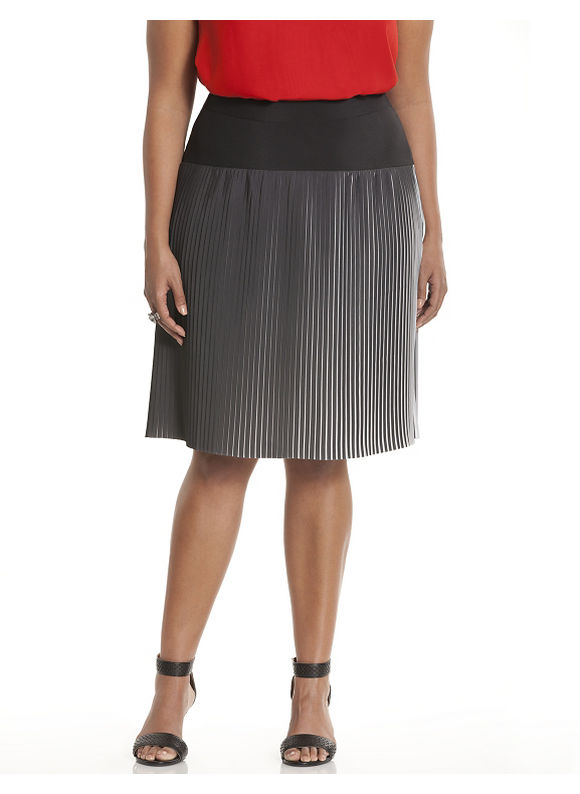 Lane Bryant Plus Size & white pleated skirt Size 18, black - Lane Bryant ~ Trendy Plus Size Clothes