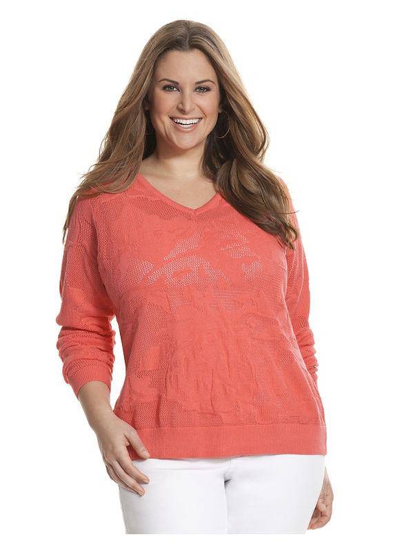 Lane Bryant Plus Size Floral mesh sweater Size 22/24, orange