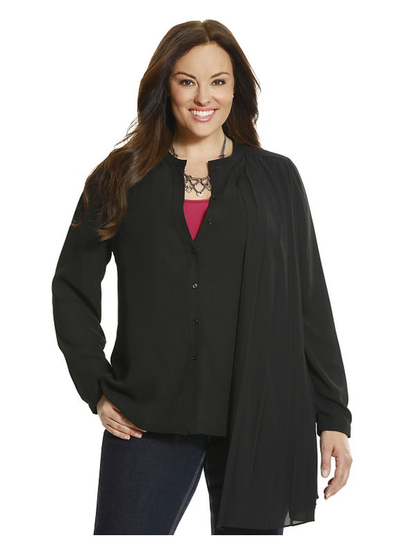 Lane Bryant Plus Size 6th & Lane pleated side blouse Size 12,14,16,18,20,22,24,26,28, black - Lane Bryant ~ Trendy Plus Size Clothes