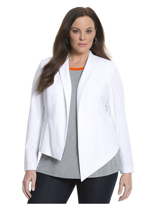 Lane Bryant Plus Size 6th & Lane asymmetric jacket Size 12, white - Lane Bryant ~ Trendy Plus Size Clothes