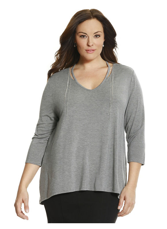 Lane Bryant Plus Size 6th & Lane embellished cut-out tee Size 12,14/16,18/20, gray - Lane Bryant ~ Trendy Plus Size Clothes