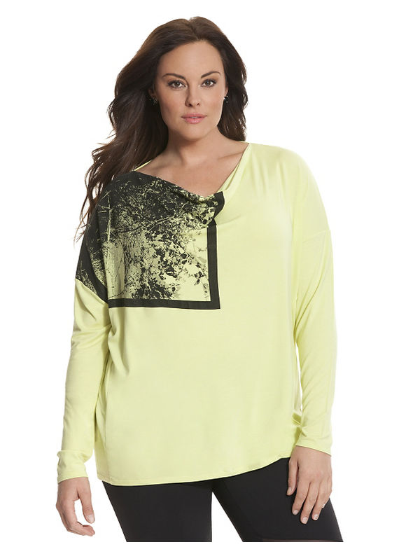 Lane Bryant Plus Size 6th & Lane draped graphic tee Size 12,14/16,18/20,22/24, lime - Lane Bryant ~ Trendy Plus Size Clothes