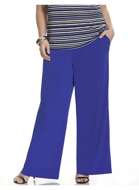 Lane Bryant Plus Size Simply Chic matte Jersey wide leg pant Size 14/16,18/20,22/24,26/28, BLACK, Cobalt