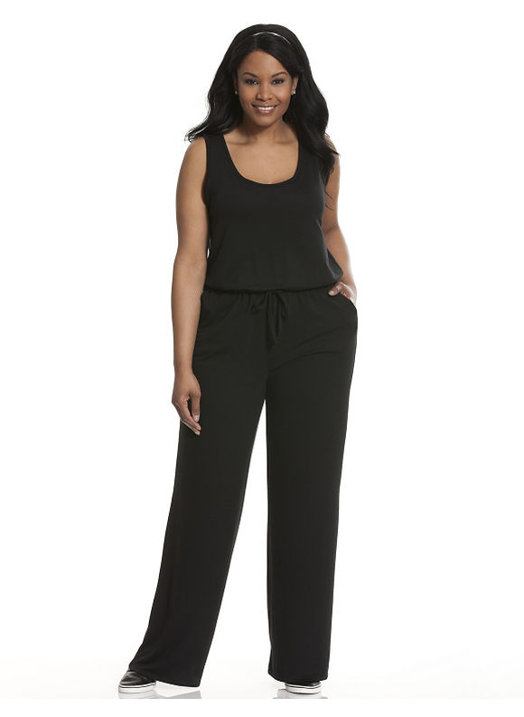Lane Bryant Plus Size Scoop neck knit jumpsuit Size 14/16, black