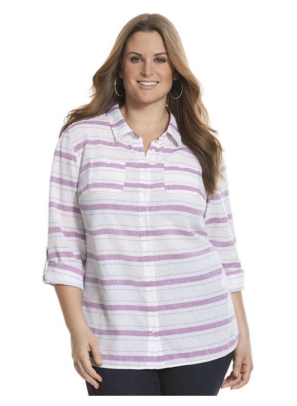 Lane Bryant Plus Size Striped casual buttondown shirt Size 26/28, silver