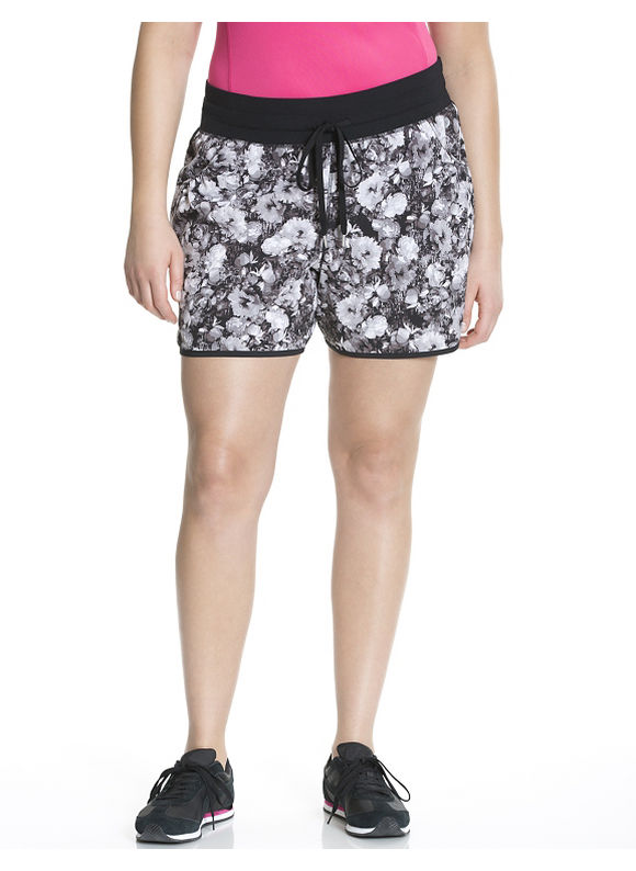 Lane Bryant Plus Size Performance Stretch floral woven active shorts white