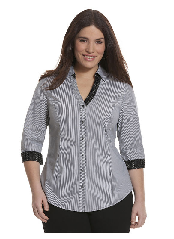 Lane Bryant Plus Size 34 sleeve striped Perfect shirt Size 14, black - Lane Bryant ~ Trendy Plus Size Clothes